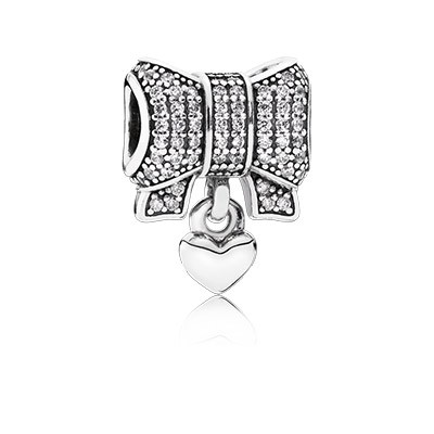 PANDORA Heart & Bow With Clear CZ Dangle